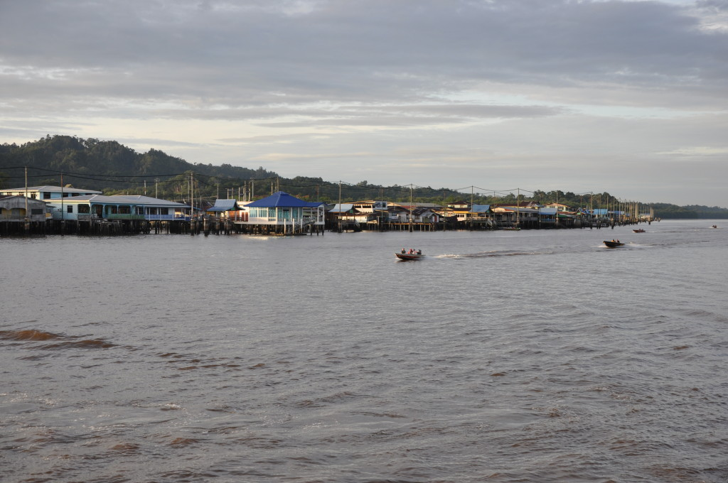 kampong ayer view from waterfront brunei river